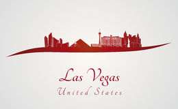 Las Vegas skyline in red. And gray background in editable vector file