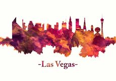 Las Vegas skyline in red vector illustration