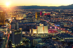 Las Vegas skyline at sunset. With colorful resorts and casinos royalty free stock photography