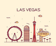 Las Vegas skyline vector illustration linear Stock Images