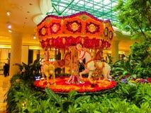 Las Vegas, Stany Zjednoczone Ameryka, Maj - 06, 2016: Kwiaty instalacyjni przy Wynn kasynem i hotelem Zdjęcie Royalty Free