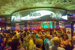 Las Vegas, Stany Zjednoczone Ameryka, Maj - 06, 2016: Wejście Bitelsi Cirque Du Soleil Teatr miłości przedstawienie przy zdjęcia stock