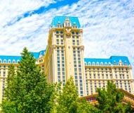 Las Vegas, Stati Uniti d'America - 5 maggio 2016: La vista dell'hotel di Parigi alla striscia di Las Vegas fotografia stock libera da diritti