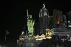 Las Vegas statuy wolno?ci street view nocy scena obrazy royalty free