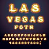 Las Vegas stilsort Bokstäver för glödande lampa Retro alfabet med lampor stock illustrationer