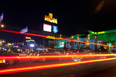 Las Vegas street at night Stock Photos