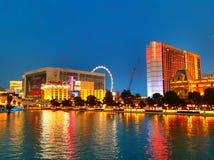 Las Vegas-Streifen über See Bellagio stockfotos
