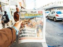 Las Vegas-Streifenschießen-Zeitungszeitung 2017; Papier; Nachrichten; Stockbild