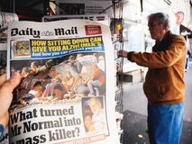 Las Vegas-Streifenschießen-Zeitungszeitung 2017; Papier; Nachrichten; Lizenzfreie Stockfotografie