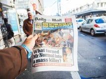 Las Vegas-Streifenschießen-Zeitungszeitung 2017; Papier; Nachrichten; Stockbilder
