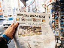 Las Vegas-Streifenschießenzeitung Corriere Della Seren 2017 ital Lizenzfreie Stockfotografie
