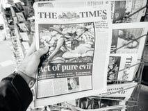 Las Vegas-Streifenschießenzeitung 2017 das Zeiten pue Übel Stockbild