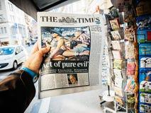 Las Vegas-Streifenschießenzeitung 2017 das Zeiten pue Übel Lizenzfreie Stockfotos