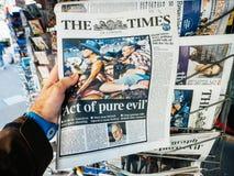 Las Vegas-Streifenschießenzeitung 2017 das Zeiten pue Übel Stockbilder