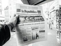 Las Vegas-Streifenschießenzeitung La Republica-Italiener 2017 vor Lizenzfreie Stockbilder
