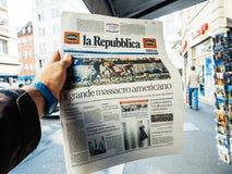 Las Vegas-Streifenschießenzeitung La Republica-Italiener 2017 vor Lizenzfreies Stockfoto