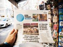 Las Vegas-Streifenschießenzeitung 2017 USA heute Lizenzfreie Stockfotografie