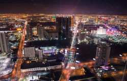 Las vegas strip aerial night light show Stock Photos