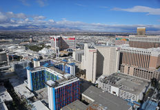 Las Vegas Strip aerial. View of the historic Las Vegas Strip seen from the east. Properties shown: Linq, Harrah's, Mirage, Venetian and Treasure Island Royalty Free Stock Image