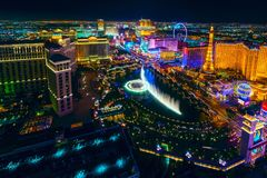 The Las Vegas Strip as seen from the Cosmopolitan. View vegas las las vegas las vegas strip las vegas skyline game stock photo