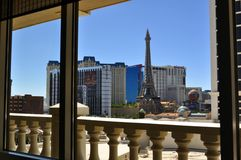 Las Vegas Strip - Ballys and Paris hotel from Caesars' room. August 2013 - Las Vegas, Nevada (USA) - View of the Ballys and Paris hotel on Las Vegas Strip from a Royalty Free Stock Images