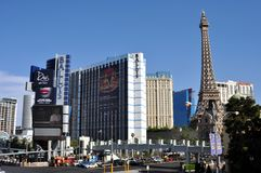 Las Vegas Strip - Ballys and Paris hotel during a sunny day Stock Image