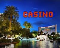Casino Las Vegas Strip Sign Night Attractions. Las Vegas Strip Casino sign, night scene attractions. Nevada, USA Stock Photo