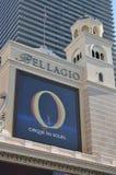 Las Vegas Strip - Cirque du Soleil at Bellagio hotel. August 2013 - Las Vegas, Nevada (USA) - Cirque du Soleil advertising at Bellagio hotel with Cosmopolitan in Stock Image