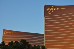 Las Vegas Strip - Detail of Wynn and Encore hotel at sunset. August 2013 - Las Vegas, Nevada (USA) - Detail of Wynn and Encore hotel at sunset stock photography