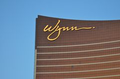 Las Vegas Strip - Detail of Wynn hotel at sunset Royalty Free Stock Images