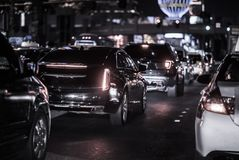 Las Vegas Strip Evening Traffic stock photography