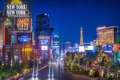 Las Vegas strip. LAS VEGAS - JUNE 15 : View of the strip on June 15 , 2014 in Las Vegas. The Las Vegas Strip is an approximately 4.2-mile (6.8 km) stretch of Las royalty free stock photo