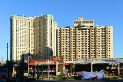 Las Vegas Strip, Las Vegas, NV. Marriott's Grand Chateau (left) and Polo Towers by Diamond Resorts (right) on Las Vegas Strip in Las Vegas, Nevada, USA Stock Photos