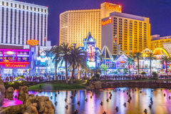 Las Vegas strip. LAS VEGAS - MARCH 18 : View of the strip on March 18 2015 in Las Vegas. The Las Vegas Strip is an approximately 4.2-mile (6.8 km) stretch of Las royalty free stock photos