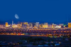 Las Vegas Strip and Moon Royalty Free Stock Photos