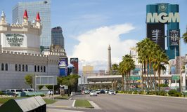 Las Vegas. The Las Vegas Strip in the Nevada sunshine.  Here dominated by the Excalibur turrets and the MGM Grand with the replica Eiffel tower and the golden Royalty Free Stock Images