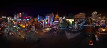 LAS VEGAS STRIP AT NIGHT - DRONE SHOT - 360 DEGREES PANORAMA royalty free stock images