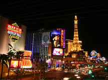 Las Vegas Strip at night, horizontal Royalty Free Stock Images