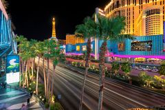 Las Vegas Strip at night. On July 12, 2014 in Las Vegas, Nevada. The Strip is home to the largest hotels and casinos in the world royalty free stock photo