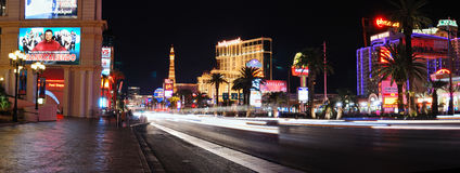 Las Vegas strip night panorama stock photography