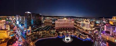 Las Vegas Strip at night. Panoramic aerial view of Las Vegas skyline from pairs hotel royalty free stock photo