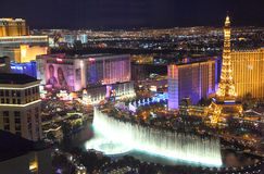 Las Vegas Strip night view. From high rise hotel to view  Bellagio Fountain Show Stock Photo