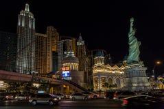 Las Vegas Strip. LAS VEGAS NV/USA - DECEMBER 24: The Las Vegas Strip on Christmas Eve with New York, New York Hotel and Casino. December 24, 2014 in Las Vegas royalty free stock image