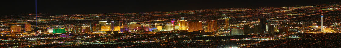 Las Vegas Strip Panoramic. View (high resolution) as seen from elevation east of Sin City Stock Image
