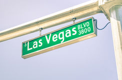 Las Vegas Strip road sign on the main street boulevard. World famous gambling sin city urban area of Nevada - Top destination in United States stock images