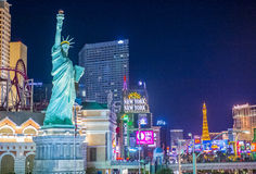 Las Vegas strip. LAS VEGAS - SEP 03 : View of the strip in Las Vegas on September 03 2015. The Las Vegas Strip is an approximately 4.2-mile (6.8 km) stretch of royalty free stock image
