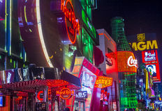 Las Vegas strip. LAS VEGAS - SEP 03 : View of the strip in Las Vegas on September 03 2015. The Las Vegas Strip is an approximately 4.2-mile (6.8 km) stretch of stock image
