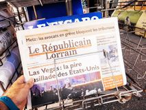 2017 Las Vegas Strip shooting Le Republicain Lorrain newspaper Royalty Free Stock Images