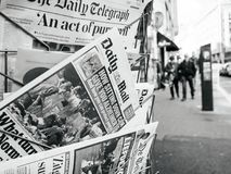 2017 Las Vegas Strip shooting Daily Mail, kisok street, newspape. PARIS, FRANCE - OCT 3, 2017: City scene with Daily Mail newspaper at kiosk with socking title Stock Photos