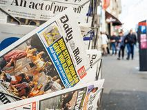 2017 Las Vegas Strip shooting Daily Mail, kisok street, newspape. PARIS, FRANCE - OCT 3, 2017: City scene with Daily Mail newspaper at kiosk with socking title Royalty Free Stock Photos